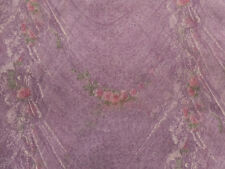 VINTAGE COTTAGE CHIC DRAPED LACE PINK ROSES PURPLE LAVENDER SHEER ORGANDY FABRIC