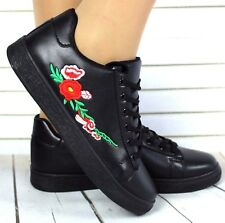 NEW LADIES CELEBRITY FLOWER EMBROIDERED LACE UP FAUX LEATHER SNEAKERS TRAINERS
