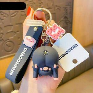 Cute Original Pig Chrysanthemum Keychain Trend Keychain Bag Pendant Couple Acces