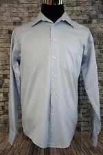 Mens Pronto Uomo Blue Long Sleeve Dress Shirt Sz 15 1/2  34/35