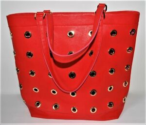 Neiman Marcus Handbag Red Faux Leather Goldtone Rings Large Tote Purse