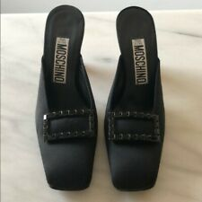 Moschino authentic satin kitten heels mules black Size 35 Preowned