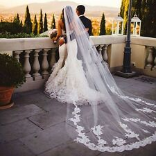 Bridal Regal Cathedral Veil 3m Length Embroidered Lace Edge Wedding Veil w/Comb