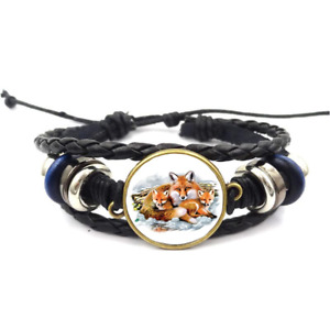 Fox Family Glass Cabochon Bracelet Braided Leather Strap Bracelets