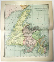 Original 1895 Dated Map of Newfoundland, Canada by Dodd Mead & Company