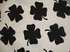 "ONE YARD FOUST LUCKY 4 LEAF CLOVER FABRIC COTTON BLACK & WHITE 60"" x 36"" BTY"