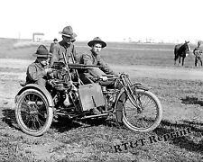 Historical Photograph of US ARMY Machine Gun Indian Motorcycle WWI 1917c  8x10