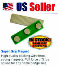 Strong 3 Magnets Name Badge Tag Fastener Backing with Adhesive - 10 Pack
