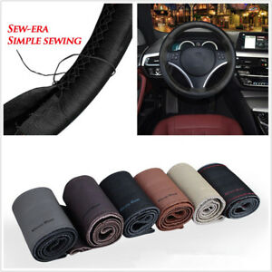 1X 38cm DIY Hand Sew Soft PU Leather Car Interior Steering Wheel Cover Universal