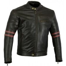 VINTAGE CAFE RACER TWINSTRIPE MOTORCYCLE LEATHER JACKET OXBLOOD  SALE SAVE $100