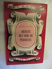 """Pierre Chessex """"Origine des Noms de Personnes"""" /La Guilde du Livre 1946"""