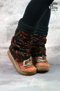 WOOLEN LEG WARMERS Fleece Lined Hippy Pixie Festival Psytrance Party Wooly Cosy