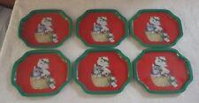 Vintage Set of 6 Tin Trays Tray Kitten Happy Holidays Christmas Green Red