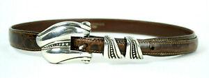 KIESELSTEIN-CORD Brown Alligator Skin Sterling Silver Buckle Belt 1 S