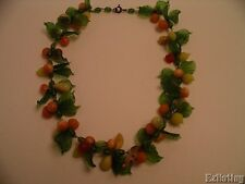 Vtg Fruit Necklace Murano Glass Multi Color Lamp Work 16""