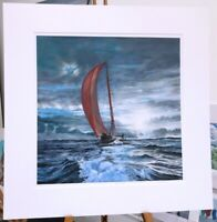 'The Red Wing' 70x70cm Yacht Race sailing print painting by Julia Pankhurst