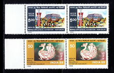 India 1987 MNH 2v Horizontal Pair, Int. Stamp Exhibition, Peacock, Birds - C16