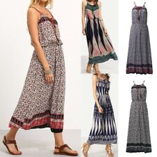 Women Casual Spaghetti Strap Retro Boho Sundress Summer Beach Maxi Floral Dress
