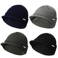 Men Women Winter Warm Knit Wool Hat Stripe Visor Brim Peaked Beanie Ski Hat Cap