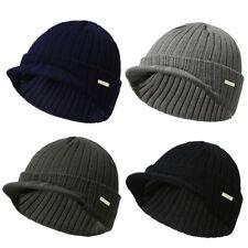 Mens Womens Winter Warm Knit Hat Ski Visor Fleece Outdoor Beanie Brim Cap US 7db0f6f34290