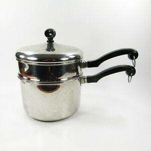 Vintage Farberware 2.5 Qt Stainless Steel Double Boiler With Lid Aluminum Clad