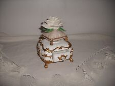 Music Box Rose Resting Along Velvet Type Pillow Ceramic/Resin Pull Out Drawer