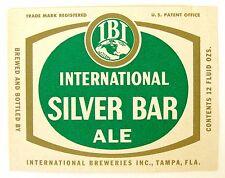 International Breweries SILVER BAR ALE beer label FL 12oz -  IBI Logo