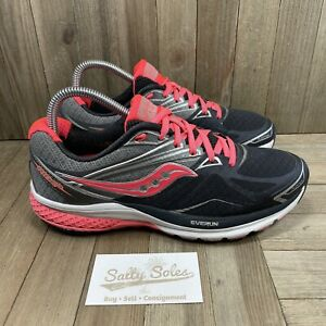 Saucony Ride 9 Black/Grey/Silver/Pink Running Shoes Women's Size 8.5 (S103118-1)