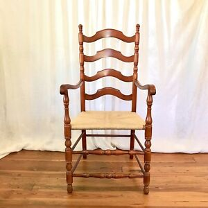 Antique Ladder Back Chair With Arms Rush Seat, Colonial, Farmhouse Style