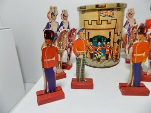 Children's  Castle Fort Toy Toffee Tin with Card Soldiers c1950-60s