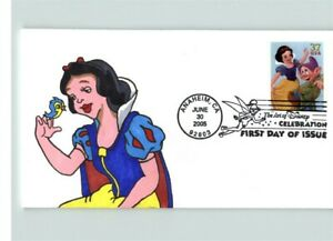 Beautiful DISNEY SNOW WHITE, Hand Painted First Day of Issue, # 1 of 1 made, Art