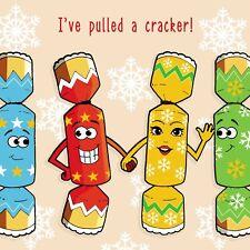 Merry Christmas Card with Cracker Flirtation - Xmas Card - Funny Christmas Card