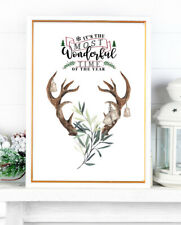 Stag Deer Christmas Print Most Wonderful Time Of The Year Watercolour Wall ART