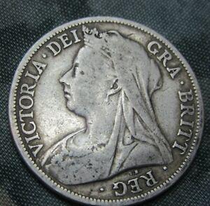 1898 QUEEN VICTORIA OLD HEAD SILVER HALF CROWN. ref2