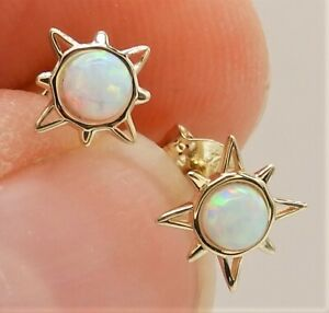 9CT GOLD  EARRINGS OPAL CABOCHON SUN STUD 9 CARAT YELLOW GOLD COMPASS
