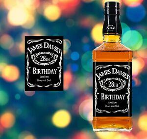 PERSONALISED JACK DANIELS WHISKEY BOTTLE LABEL BIRTHDAY BOURBON JD FATHER