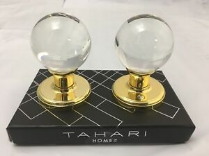 BEAUTIFUL TAHARI CRYSTAL Round Clear Glass Gold Base Set for 1 Door Knob Pull