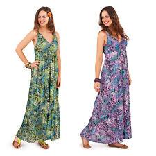 Vestido De Verano pistacho para Mujer Con Tiras Estampado De Animales Para Damas de algodón con cuello en V Maxi