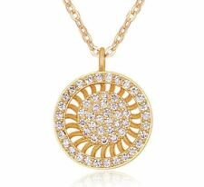 Women's Girls Sunray Circle Pendant Necklace Encrusted Crystals Gold UK