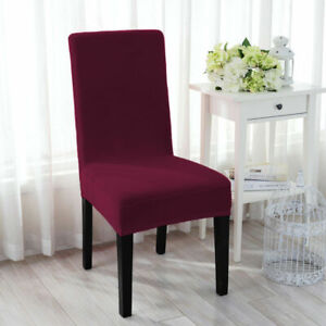 4 SMIRY Velvet Wine Red Stretch Banquet Chair Covers Seat Slipcover Dining Room
