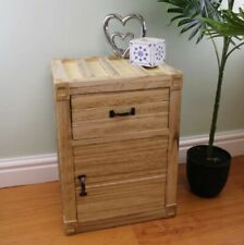 Untreated Wooden Rustic Bedside Table / Cabinet