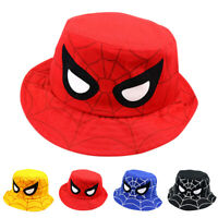 Kids Boy Girl Spider Print Bucket Hat Summer Beach Sun Hats Fisherman Boonie Cap