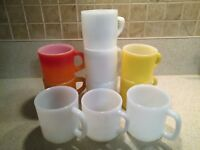 Lot of 10 Stacking Vintage Mugs Fire King Glasbake Federal Milk Glass Yellow Red
