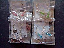 4 Paar Ohrringe Ohrhänger mit Stern silber und je 3 Straßsteinen NEW FASHION