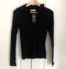 Hollister Women Polo Top L Lace Up Black Gray Off White Long Sleeve Stretch Rib