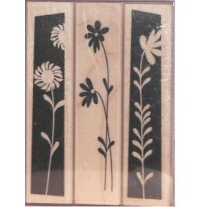 """HERO ARTS """"EDGY FLOWERS"""" RUBBER STAMP SET"""