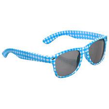 Blau-weiß karierte Sonnenbrille Oktoberfest Spaßbrille Karomuster Brille JGA