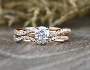 1.50 CT White Round Cut Diamond Engagement Wedding Ring Set 14K Rose Gold Plated