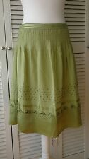 WHISTLES Stunning Green Skirt with Bead Detailing and Silk Trim Size 10