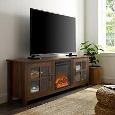 "Walker Edison 70"" Farmhouse Fireplace Wood TV Stand - Dark Walnut New"